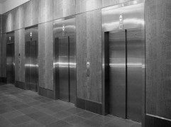 1200 3rd Ave - Curly Cherry & Stainless Elevator Lobby